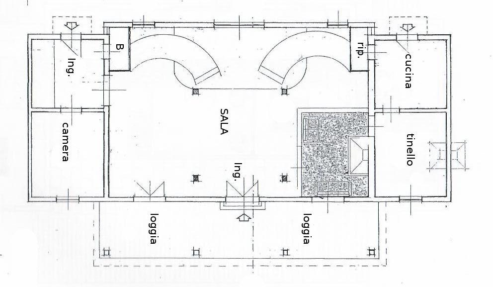 planimetria piano terra Villa libera su quattro lati con Parco Privato e vista Mare in vendita a Valle Benedetta
